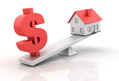 House Balance. Three dimensional illustration of sesaw with House and Dollar sign for Real estate Concepts Royalty Free Stock Image