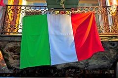 House balcony with an italian flag Stock Image