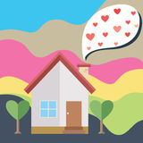 House and balloon heart Stock Photography