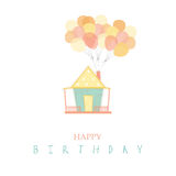 House with balloons on isolate backgrounds,Birthday cards. House with balloons on isolate backgrounds Stock Photo