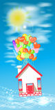 House on the balloons to fly the sky with clouds. Stock Illustration