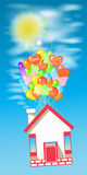 House on the balloons to fly the sky with the sun. Stock Illustration