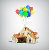 House and balloons Stock Photo
