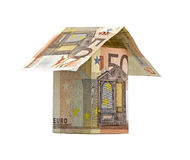 House of banknotes isolated Royalty Free Stock Image
