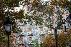 The House `Batllo` in Barcelona. One of the popular buildings of the famous spanish architect Antonio Gaudi royalty free stock photography