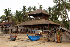 House on the beach. Palm trees and wood house on the beach Aguram Bay in Sri Lanka Royalty Free Stock Photography