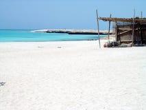 House on the beach. Sand beach in Hurghada with pot Royalty Free Stock Photos