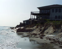 House on beach front. House on beach at water's edge.  Emerald Isle, North Carolina Stock Photos