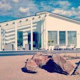 House on Beach in Kalajoki, Finland. White house with outdoor patio on beach in Kalajoki, Finland Stock Photography