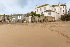 House on the beach at St Ives, North Cornwall, UK royalty free stock photo