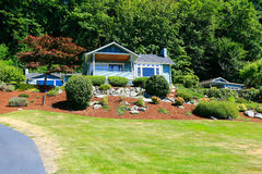 House with beautiful curb appeal. Port Orchard town, WA. House with beautiful front yard landscape. Port Orchard town, WA Royalty Free Stock Images