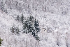 House in the beautiful Winter mountain Stock Photography