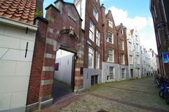 House beguines entrance. In a cobbled street in amsterdam Stock Images