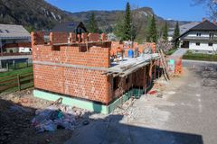 House being built with bricks royalty free stock image