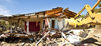 House being demolished. Royalty Free Stock Image