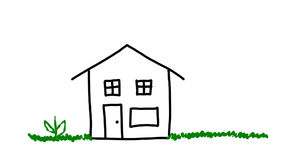 House being drawn. An animation of a house being drawn in black with wiggly green grass, red flower, and yellow sun