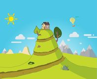 The house is on a big hill. Fairy illustration Royalty Free Stock Photography