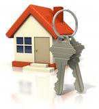 House With Big Keys. Simple house with a pair of keys in the front on white background. Clipping path included Stock Photography
