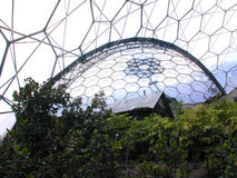 House in a Biome. The Eden Project stock photo