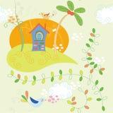 House and bird stock illustration
