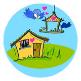 Birds House for Children Baby Cartoon Stock Image