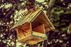 The house for birds to eat on the tree in winter park stock image