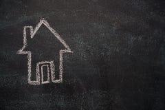 House on black chalkboard Royalty Free Stock Photography