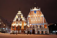 House of black-headed in Riga. Night view of house of black-headed in Riga Stock Photos