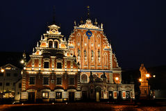 House of the Blackheads. Building at night in the old town of Riga, Latvia Royalty Free Stock Photos