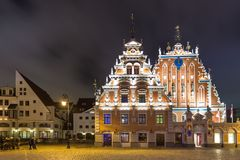 House of the Blackheads, building situated in the old town of Riga. stock photos