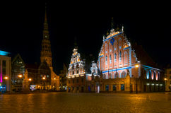 House of the Blackheads at night in Riga, Latvia Stock Images