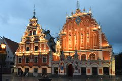 House of the Blackheads in the old town of Riga, Latvia royalty free stock photo