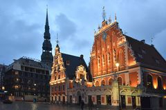 House of the Blackheads in the old town of Riga, Latvia stock photo