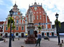 House of the Blackheads in the old town of Riga, Latvia royalty free stock image