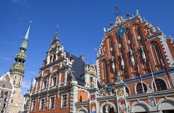 House of the Blackheads and St. Peter's Church in Riga Royalty Free Stock Photography