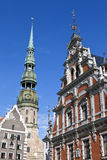 House of the Blackheads and St. Peter's Church in Riga Stock Image