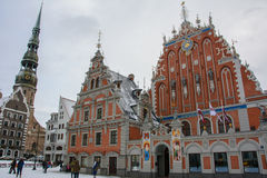 House of the Blackheads in the winter, Riga, Latvia Royalty Free Stock Photo