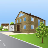 House of blocks, with a porch and garage in perspective Stock Photos