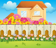 A house with blooming flowers. Illustration of a house with blooming flowers Stock Photos
