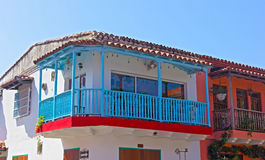 House with a blue balcony in Cartagena city, Columbia. Royalty Free Stock Photos
