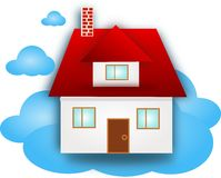 House on blue cloud Royalty Free Stock Photos
