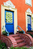 House with blue doors in Potsdam, Germany Stock Photo