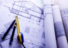 House blue print close up Royalty Free Stock Images