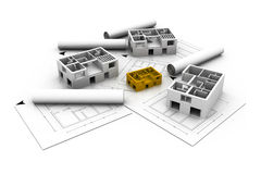 House blue print plan. 3d architecture house blue print plan Royalty Free Stock Images