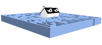 House in a blue real estate maze home puzzle. A black and white house in a blue real estate maze home puzzle Royalty Free Stock Photo