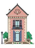 House with blue shutters. Vector illustration of a beautiful little house, EPS 8 file Stock Illustration
