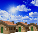 House and blue sky. 3d illustration real estate background Stock Images