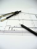 House blueprint. Blueprint of a house with compass and pen on it Royalty Free Stock Photography