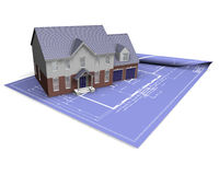 House on blueprint. 3D render of a modern house on blueprints Stock Photography