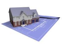 House on blueprint Stock Photography